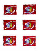 Flor de lótus coloridos de carimbo — Foto Stock