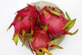 Red ripe dragon fruit isolated on white background — Stock Photo