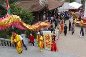 Un gruppo di persone asiatiche ballare drago in feste popolari — Foto Stock