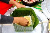 Make square glutinous rice cake — Stock fotografie