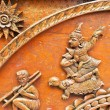 Stock Photo: Old wooden carving in Thai style