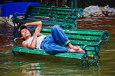 The worst flooding in Bangkok's Chinatown — Stock Photo