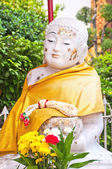 White Stone Buddha Statue at temple — Stock Photo