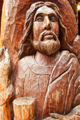 Old wooden jesus sculpture — Stock Photo