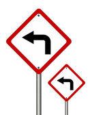 转左的交通标志 — 图库照片