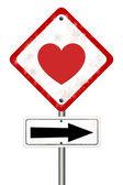 дорожный знак с любовью — Стоковое фото