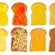 Stock Photo: Several toast with various topping