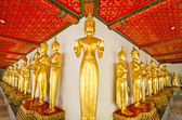 Standing golden Buddha statues — Stock Photo