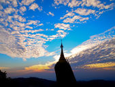 Sunset over pagoda in Myanmar — Stock Photo