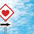 Road sign with love — 图库照片