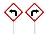 Turn left and right traffic sign — Stock Photo