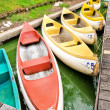 Canoes on the lake — Stock Photo