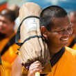 Stock Photo: Row of Buddhist hike monks on streets