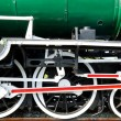 Wheels of restored steam train locomotive — Stock Photo