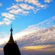 Stock Photo: Sunset over pagodin Myanmar