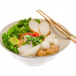Noodle with fish-ball isolated in white background — Stock Photo