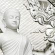 White monk meditation statue  — Stock Photo