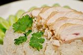 Steam Chicken over rice — Stock Photo