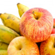 Bunch of cultivated bananand apples — Stock Photo #34344103