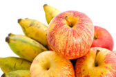 Bunch of cultivated banana and apples — Stock Photo