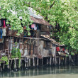 Stock Photo: Slum on dirty canal