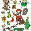 Set of hand-drawn doodle Christmas elements on note paper — Stock Vector