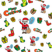 Seamless Christmas doodle icons — Stock Vector