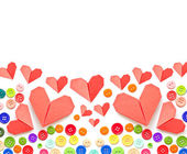 Paper heart and colorful plastic buttons with copy space — Стоковое фото