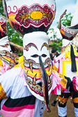 Unidentified men wear ghost costumes at Ghost Festival — Fotografia Stock
