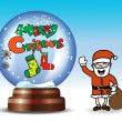Snow globe with Santa Claus — Stock Vector