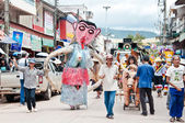 Unidentified men wear ghost costumes at Ghost Festival — Stock Photo