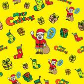 Iconos de doodle navidad inconsútil — Vector de stock