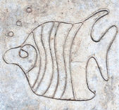 Fish carved on cement floor — Stock Photo