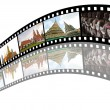 Stock Photo: Film strip with pictures of tourist attraction in Thailand