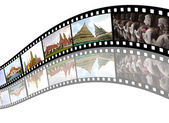 Film strip with pictures of tourist attraction in Thailand — Stock Photo