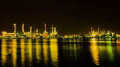 Oil refinery factory at night  — Stock Photo