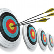 Arrows hitting the center of target — Stock Photo