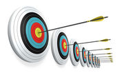 Arrows hitting the center of targets — Stock Photo