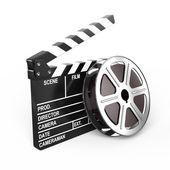 Placa de filme e bater palmas — Foto Stock