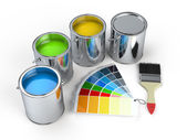 Paint cans with brush and Pantone — Stock Photo