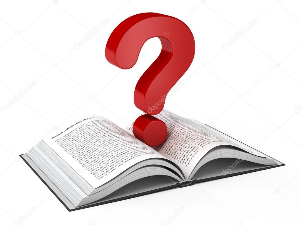 Book Cover Photography Questions ~ Livro aberto e um ponto de interrogação — fotografias