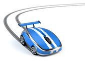 Computer mouse on wheels — Stock Photo