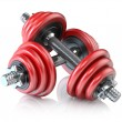 Two red dumbbells  — 图库照片