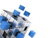 Teamwork business concept - cube assembling from blocks — Stock Photo