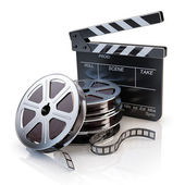 Film Reels and Clapper board — Stock Photo