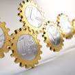 Euro coin gears - financial system concept — Stock Photo