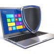Laptop with shield - security concept — Stock Photo