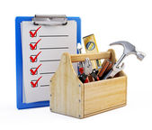 Clipboard and toolbox with tools — Stock Photo