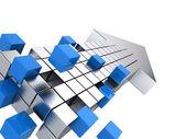Teamwork business concept - arrow assembling from blocks — Stock Photo