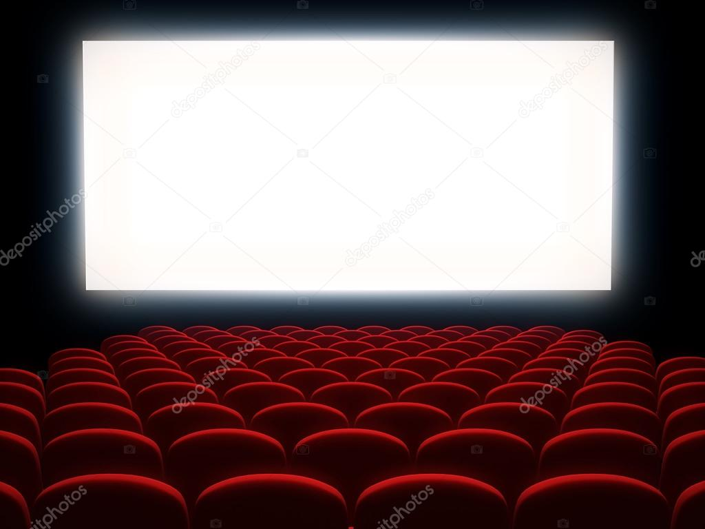 Cinema Auditorium With White Screen Stock Photo